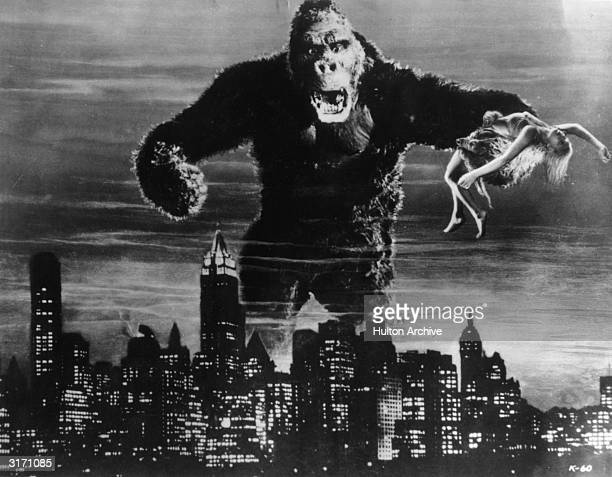 One of John Cerisoli's models of the giant ape poised above the New York skyline in a scene from the classic monster movie 'King Kong' In one of his...