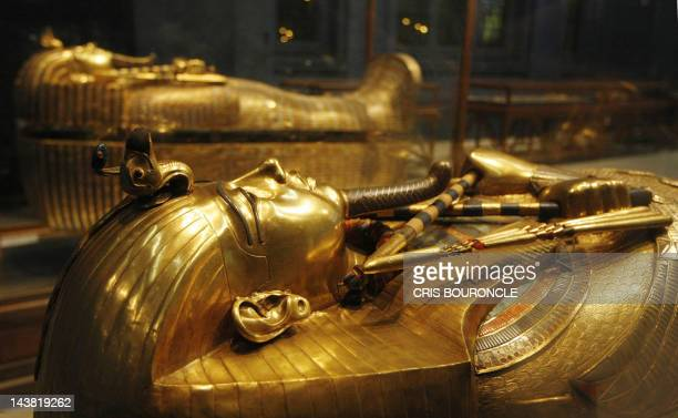 One of King Tutankhamun's gold sarcophagi is displayed at the Egyptian Museum in Cairo late 22 October 2007 This is the third and innermost coffin...