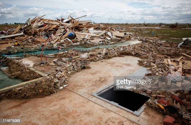 One of many storm shelters used in the rural neighborhood struck by a tornado May 25 2011 in Piedmont Oklahoma The state medical examiner's office...