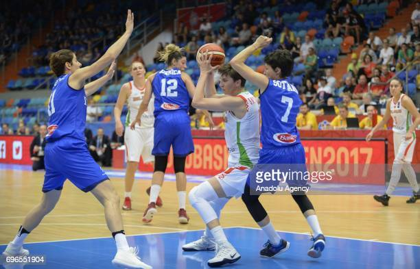 One of of Belarus in action against Giorgia Sottana of Italy during the qualification match of 2017 FIBA EuroBasket Women between Italy and Belarus...