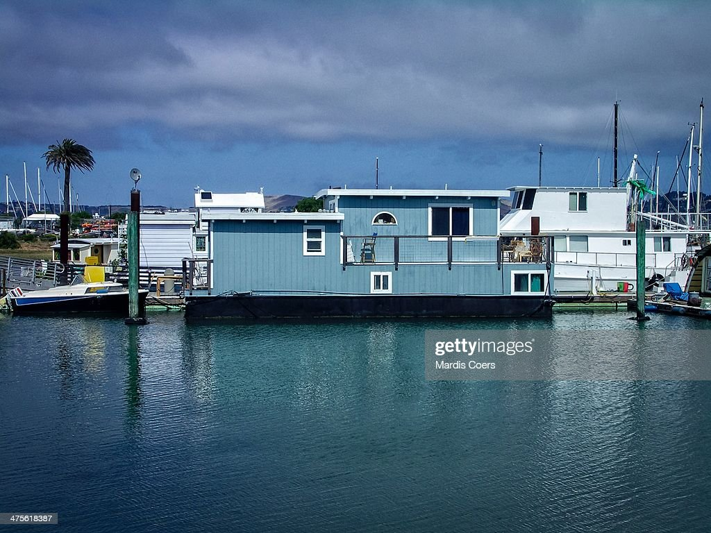 One of over 400 houseboats in the Sausalito marina, California.