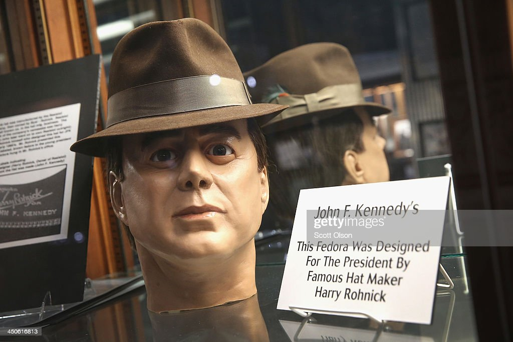 One of President John F. Kennedy hats is displayed at the Historic Auto Attractions museum on November 19, 2013 in Roscoe, Illinois. The museum has a large collection of items from Kennedy's life and death on display. It has been fifty years since John F. Kennedy was assassinated on November 22, 1963.