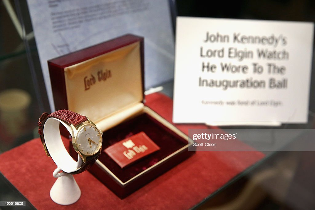 One of President John F. Kennedy's Lord Elgin watches is displayed at the Historic Auto Attractions museum on November 19, 2013 in Roscoe, Illinois. The museum has a large collection of items from Kennedy's life and death on display. It has been fifty years since John F. Kennedy was assassinated on November 22, 1963.