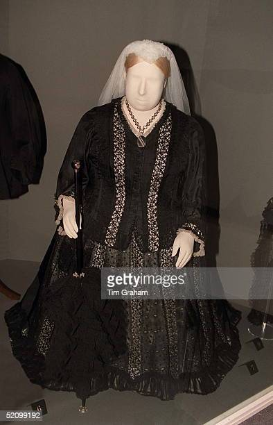 One Of Queen Victoria's Black Afternoon Or Dinner Dresses At The New Exhibition At The Museum Of London Called 'in Royal Fashion' Which Comprises The...