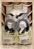 One of several campaign banners Nathaniel Currier is known to have produced for the Democrats in 1844 It features two laurelwreathed oval portraits...