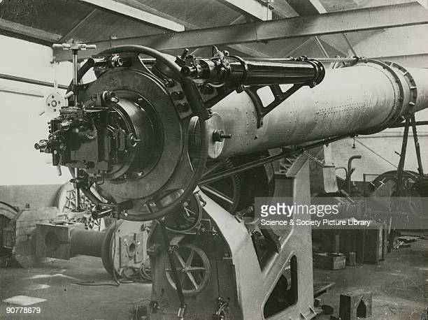 One of six photographs showing the construction of the 26 inch equatorial refractor by Sir Howard Grubb Parsons and Company of Newcastle upon Tyne...