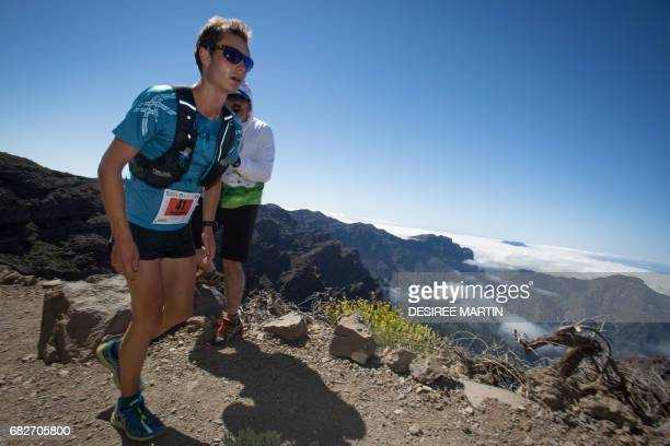 One of the 3600 participants runs through La Caldera de Taburiente National Park during the ultra trail event Transvulcania 2017 on the Spanish...