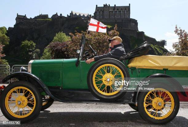 One of the 89 Ford Model T cars which took part in a parade through Edinburgh to celebrate the centenary of the classic car