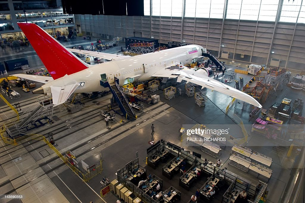 One of the Air India 787 Dreamliners on the production floor at Boeing's new production facilities April 27, 2012, in North Charleston, South Carolina. Later in the day Boeing conducted 'roll-out' ceremonies for their first South Carolina made 787 Dreamliner aircraft. AFP PHOTO/Paul J. Richards