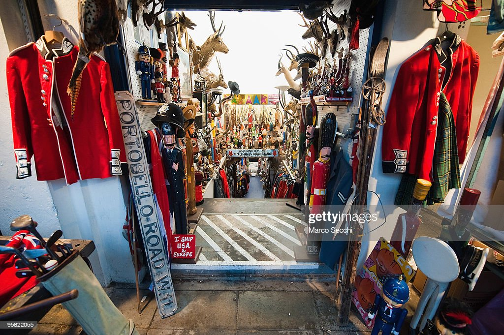 One of the antique shops at Portobello Market on January 16, 2010 in London, England. Portobello traders fear for the Market's future after Lipka's Antiques Arcade, where more than 150 traders had their stalls, was redeveloped to accommodate a large High street chain store.