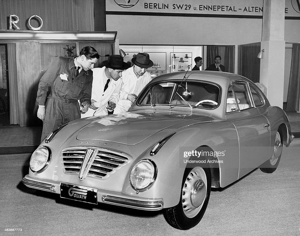 One of the big attractions at Frankfurt's 36th International Auto Show is the German Goliath sports coupe Frankfurt Germany March 23 1953 It has a 34...