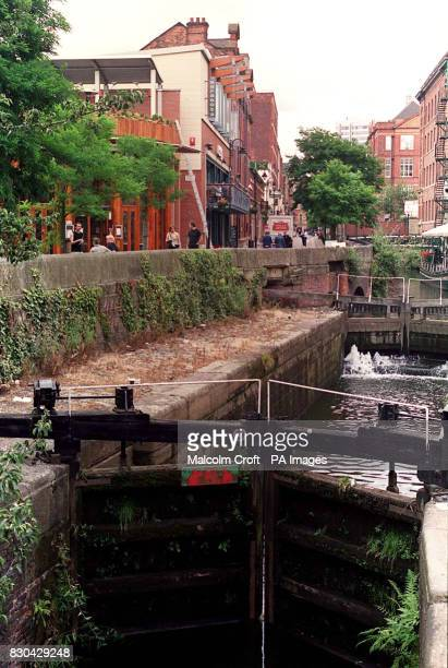 One of the canal locks by Canal Street Manchester a famous gay district of the city