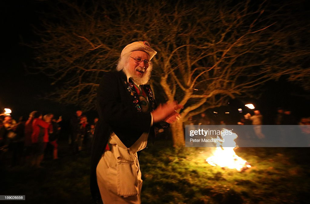 One of The Chanctonbury Ring Morris Men takes part in the Apple Howling ceremony at Old Mill Farm on January 5, 2013 in Bolney, England. In this ancient ritual villagers surround the oldest and largest tree in the orchard and evil spirits are driven out and good spirits are encouraged to produce a bountiful apple crop for the following year's cider drink.