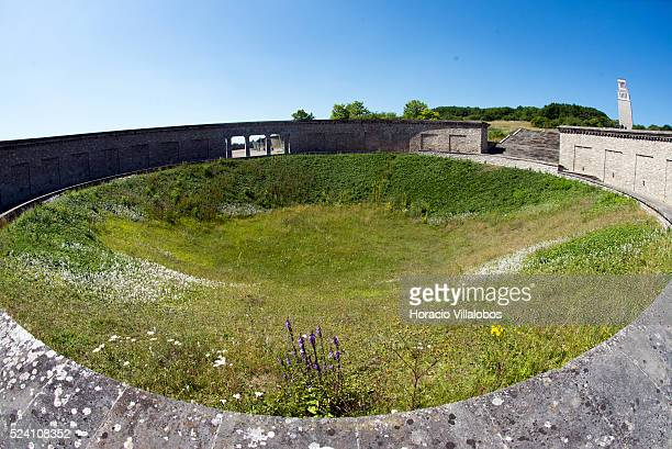 One of the circular mass graves part of the 1958 GDR's Buchenwald National Memorial outside Buchenwald concentration camp near Weimar Germany 21 July...