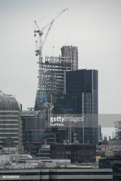 One of the City of London's construction sites is pictured with its cranes London on June 27 2017