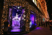One of the decorated Christmas window displays in Harrods department store in Knightsbridge on November 29 2012 in London England Many prominent...