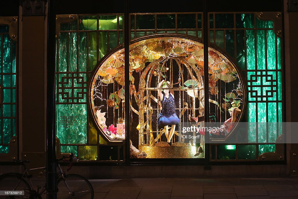 One of the decorated Christmas window displays in Harvey Nichols department store in Knightsbridge on November 29, 2012 in London, England. Many prominent retailers in the capital have produced elaborate festive window displays to entice Christmas shoppers with less than one calendar month remaining before Christmas Day.