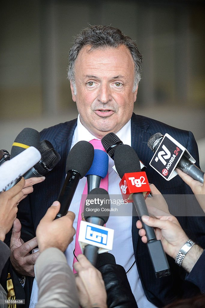 One of the defense lawyers of Raffaele Sollecito, Luca Maori, talks to the media at the new Courthouse at the end of the appeal trial of Amanda Knox and Raffaele Sollecito on September 30, 2013 in Florence, Italy. Both Knox and Sollecito had their convictions overturned and were released in 2011 after four years in prison. Knox has no plans to return to Italy for their retrial and will be represented by her laywers in court.