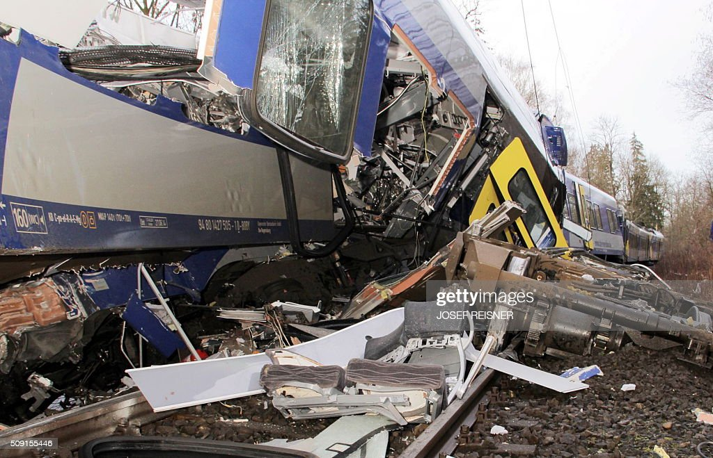 One of the destroyed trains is seen at the site of a train accident near Bad Aibling southern Germany on February 9 2016 Two Meridian commuter trains...