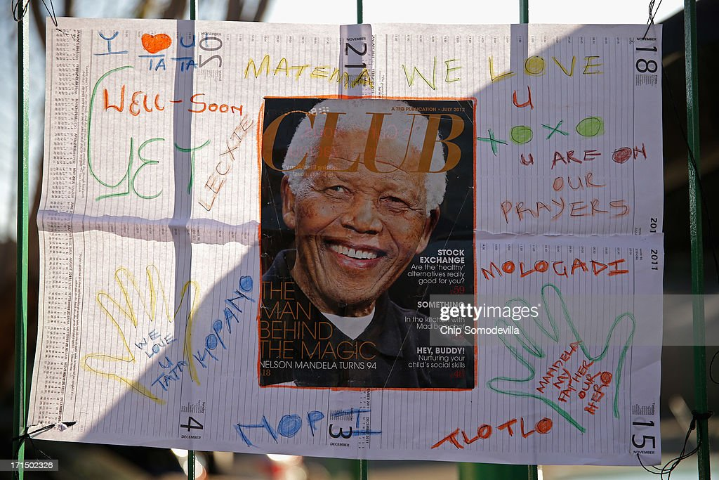One of the dozens of hand-made messages of support for former South African President Nelson Mandela is posted to the wall outside the Mediclinic Heart Hospital June 25, 2013 in Pretoria, South Africa. South African President Jacob Zuma confirmed on June 23 that Mandela's condition has become critical since he was admitted to the hospital over two weeks ago for a recurring lung infection.