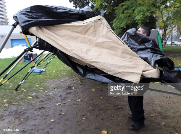 One of the EMAT members struggles to get the tent up The Ontario EMAT team went to Moss Park on Thursday afternoon to set up an all season and strong...