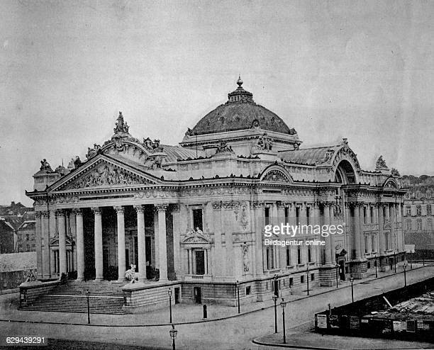 One of the first autotype photographs of palais de la bourse stock exchange brussels belgium circa 1880