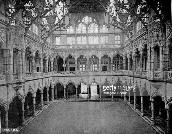 One of the first autotype photographs of the interior of the stock exchange bourse d'anvers antwerp belgium circa 1880