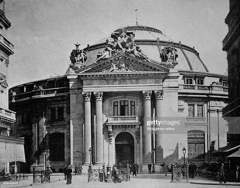 One of the first autotypes of la bourse du commerce paris france historical photograph 1884