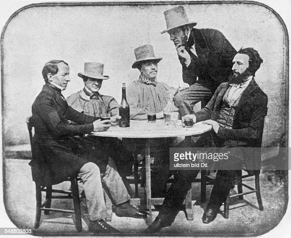One of the first grouppictures taken by Daguerre depicting the optician Lerebours the inventor Martens the mathematician Gaudin and the physician...
