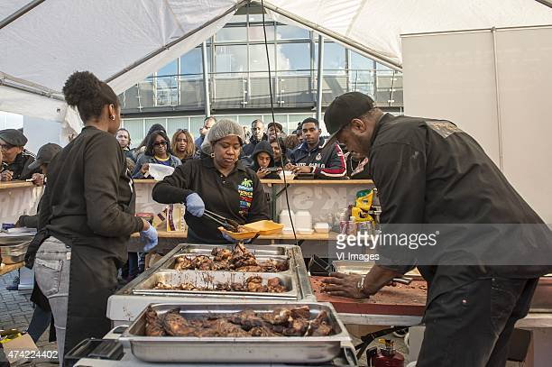 one of the food points during the International friendy match between Curacao and Suriname on May 20 2015 at the AlmereCity stadium in Almere The...
