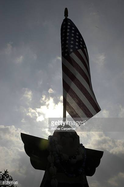 One of the forty wooden angels is silhouetted against the sky at the temporary memorial on September 11 2004 near Shankville Pennsylvania It is one...