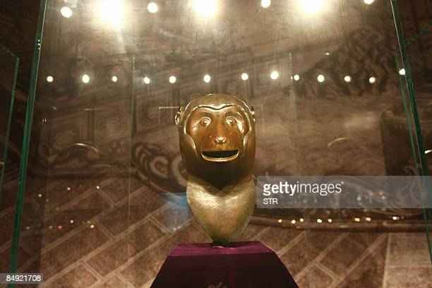 One of the four 18th century Qing dynasty bronze fountainheads the Monkey owned by China's Poly Group are on display at a Beijing museum in Beijing...