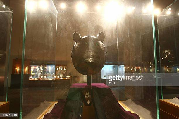 One of the four 18th century Qing dynasty bronze fountainheads the Tiger owned by China's Poly Group are on display at a Beijing museum in Beijing on...