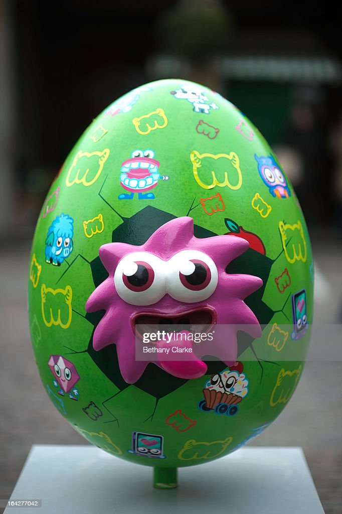 One of the giant fibreglass easter eggs, entitled 'IGGY Eggy' by Moshi Monsters on display in Covent Garden before the Big Egg Hunt on March 22, 2013 in London, England. Each egg is two and a half feet tall and designed by a leading artist.