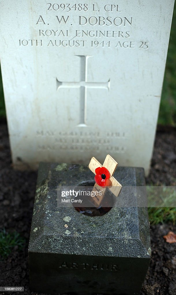 One of the headstones in a plot of war graves that have recently been restored are seen at Trowbridge Cemetery on December 14, 2012 in Trowbridge, England. The group of 19 war graves has been renovated as part of a wider programme across the UK recognising those who died in the two world wars. The Commonwealth War Graves Commission is responsible for marking and maintaining the graves of those members of the Commonwealth forces who died during the two world wars, for building and maintaining memorials to the dead whose graves are unknown and for providing records and registers of these 1.7 million burials and commemorations found in most countries throughout the world.