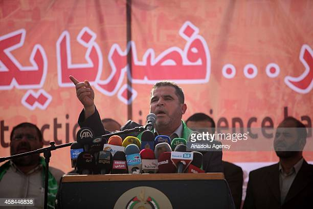 One of the leaders of Hamas Salah Berdevil gives a speech as Palestinians stage demonstrations to proclaim their request of immediate reconstruction...