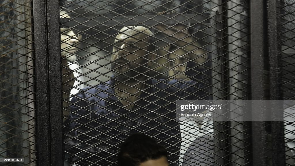 One of the leaders of the Muslim Brotherhood, Amr Zaki is seen behind the bars during the trials of Muslim Brotherhood members at the Police Academy in the capital Cairo, Egypt on May 31, 2016.