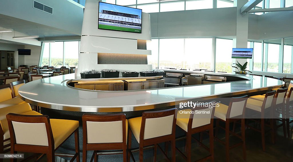 One of the luxury lounges is pictured at Daytona International Speedway Motorsports Stadium during an exclusive tour of the impressive new stadium facilities on Friday, Feb. 12, 2016 in Daytona Beach, Fla.