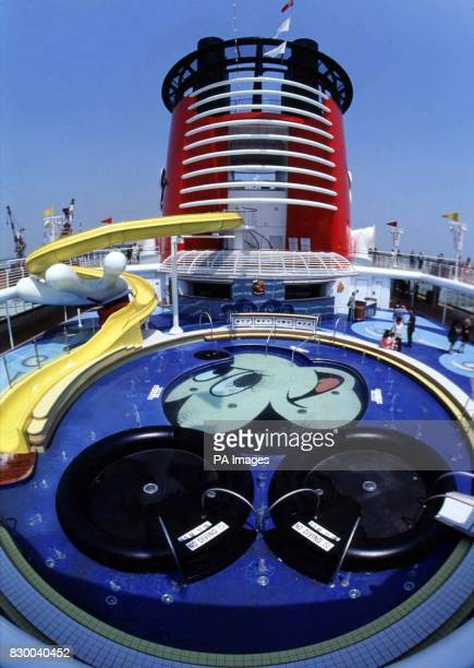 One of the main pool decks on the new Disney cruise ship the Disney Magic which can accommodate 2400 guests on its eleven passenger decks The ship is...