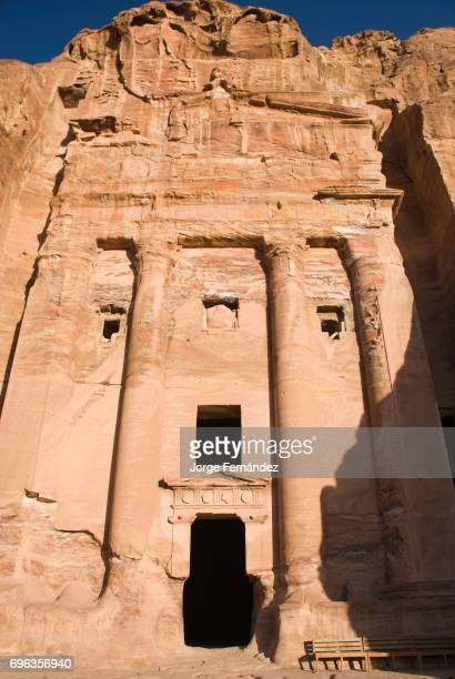 One of the many buildings carved on the rock in Petra