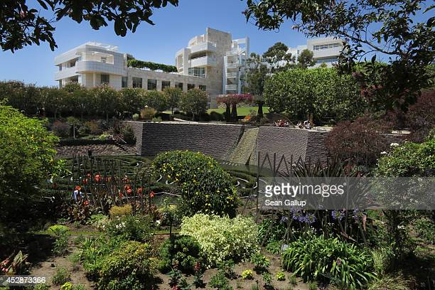 One of the many buildings of the Getty Center museum stands near the gardens on July 10 2014 in Los Angeles California The Getty Center is among the...