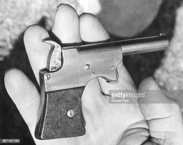 One of the many weapons invented by Donaldson in this breechless 22 caliber pistol which uses no firing pen Credit The Denver Post