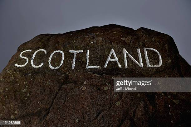 One of the marker stones stands at Carter Bar view point where the A68 crosses from Scotland into England on October 22 2012 in Carter Bar Scotland...