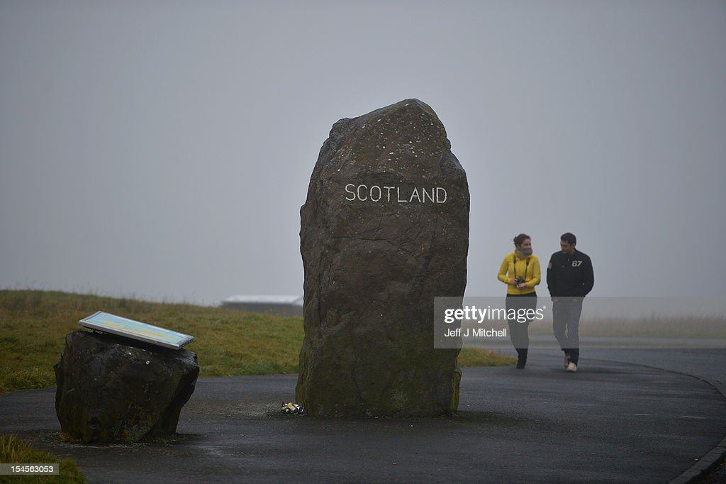 One of the marker stones stands at Carter Bar view point where the A68 crosses from Scotland into England on October 22, 2012 in Carter Bar, Scotland. Last week Scottish First Minister Alex Salmond met with British Prime Minister David Cameron and agreed on details for a Scottish independence referendum to be held in the autumn of 2014, asking a single yes or no question on whether the country should become independent.
