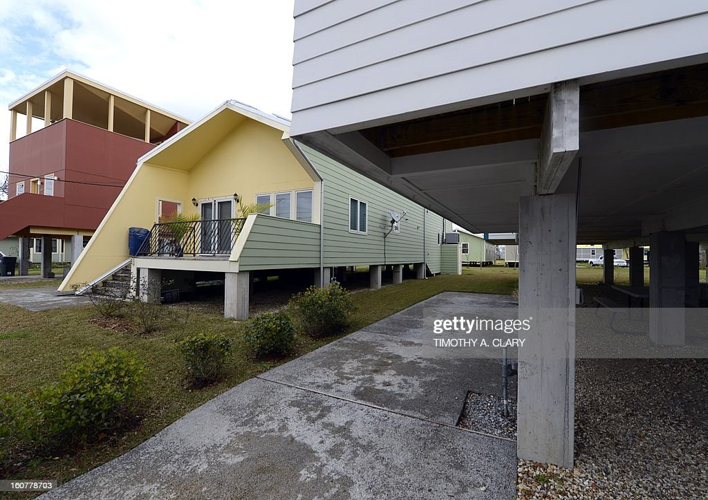 One of the modular houses built by the Brad Pitt's Make It Right Foundation is seen in the Lower Ninth Ward of New Orleans on February 5, 2013. Pitt rasied $30 million for the project that consists of hurricane-proof homes. The Ninth Ward area suffered the worst damage from Hurricane Katrina that occured in 2005 after multiple breaches in the levees of at least four canals. As of March 2009, hundreds of houses have been rebuilt, and dozens of new homes have been constructed.