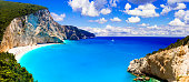amazing beaches of Greece - Porto Katsiki with cleanest turquoise waters. Lefkada, Ionian islands