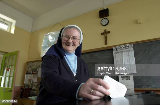 One of the nuns from Balloonach Convent voting at a polling station in the primary school next door to their home in Tralee Co Kerry after casting...