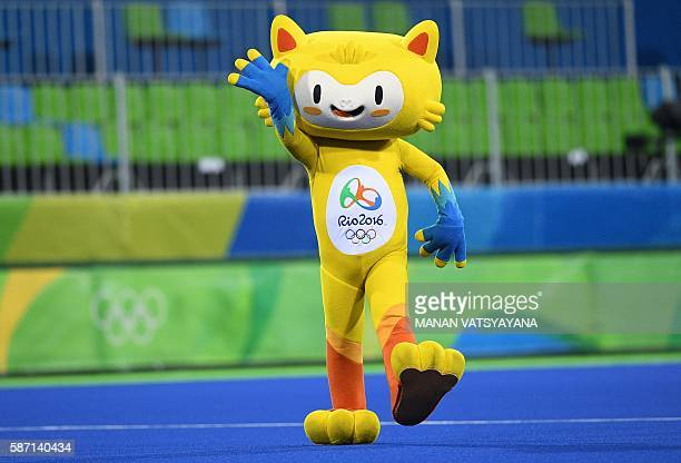 One of the Olympic mascots Vinicius walks onto the field in a break during the men's field hockey Australia vs Spain match of the Rio 2016 Olympics...