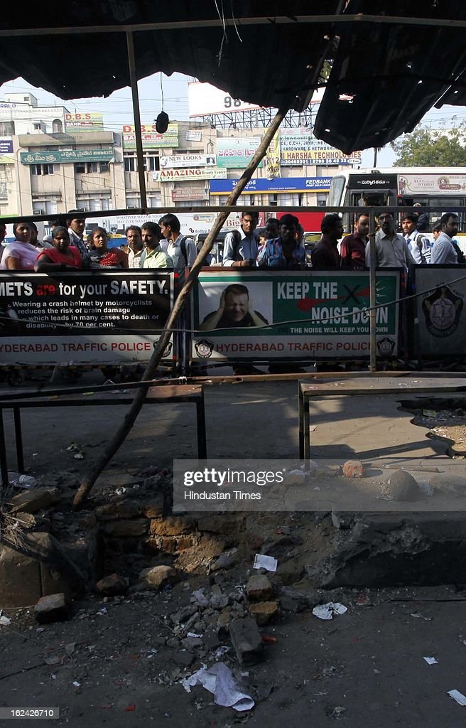 One of the sites of dual bomb blast on February 23, 2013 in Hyderabad, India. The dual blast which occurred on Thursday, reportedly killed 16 people.
