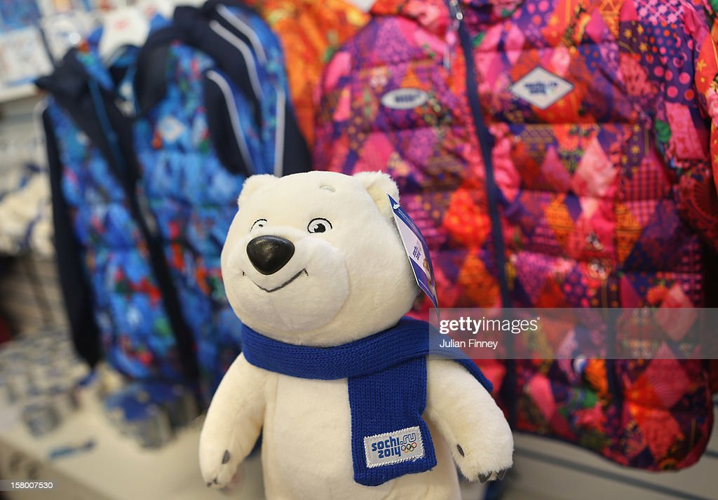 One of the Sochi 2014 mascot toy is seen at the merchandise shop during the Grand Prix of Figure Skating Final 2012 at the Iceberg Skating Palace on December 8, 2012 in Sochi, Russia.